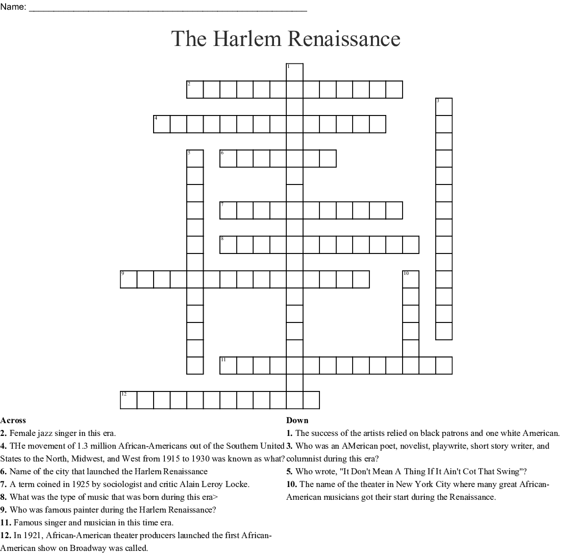 Harlem Renaissance Word Search - WordMint