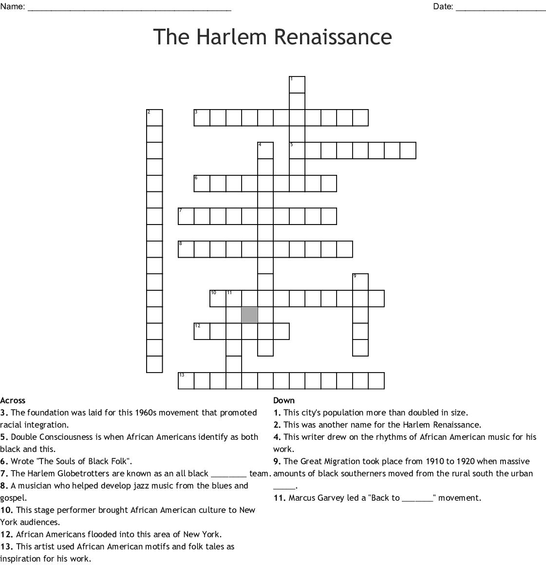 The Great Migration Crossword - WordMint