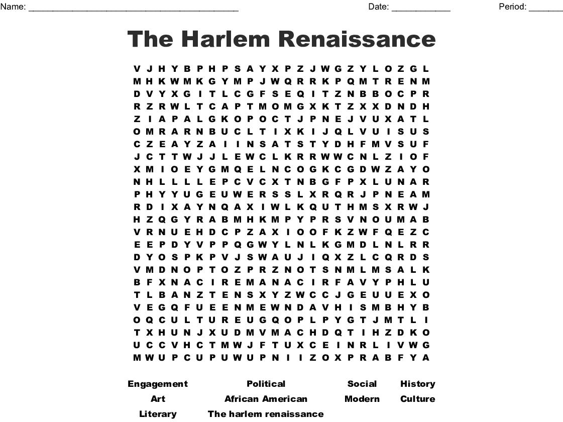 The Harlem Renaissance Word Search - WordMint