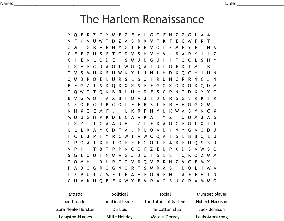 The Harlem Renaissance Word Search - WordMint