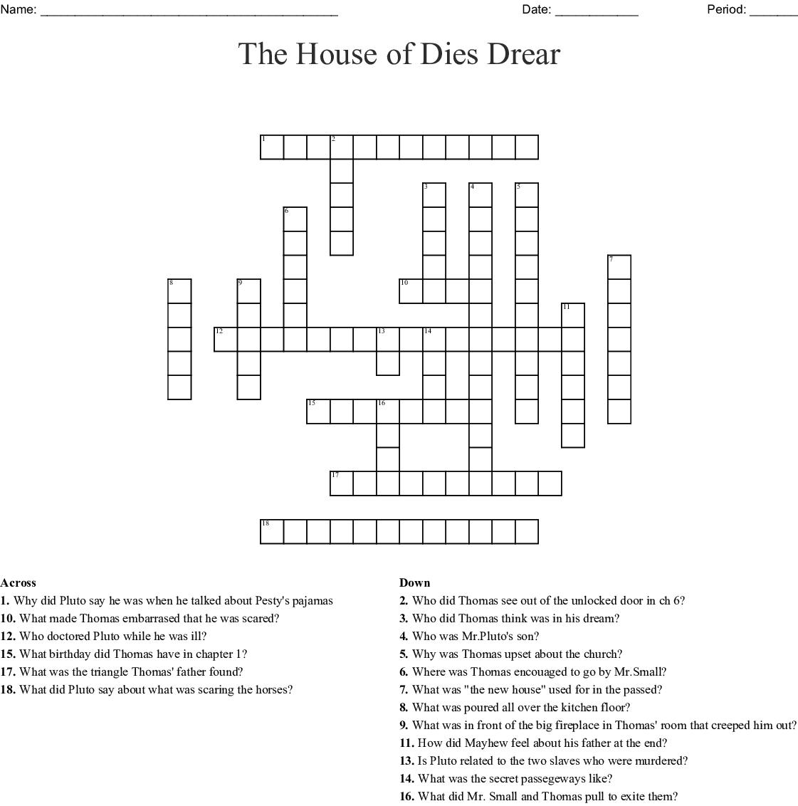 The House Of Dies Drear Crossword Wordmint