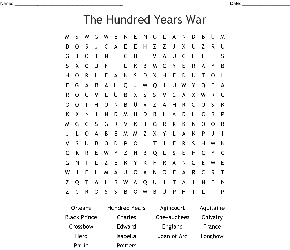 Hundred Years War Crossword Wordmint