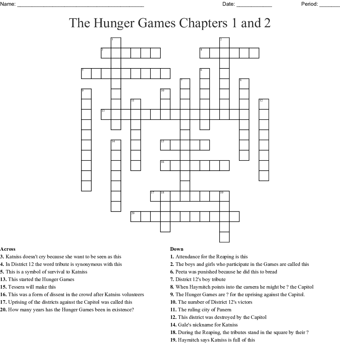 The Hunger Games Chapters 1 And 2 Crossword Wordmint
