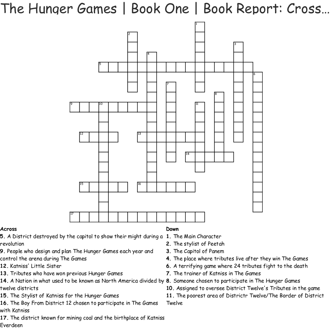 HUNGER GAMES Word Search - WordMint