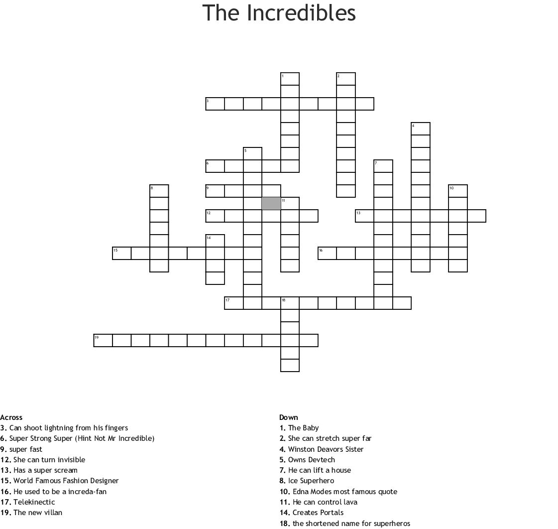 The Incredibles Crossword Wordmint