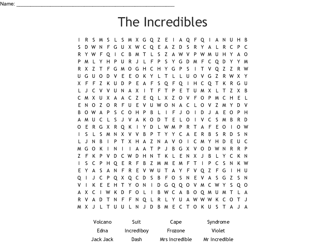 The Incredibles Word Search Wordmint