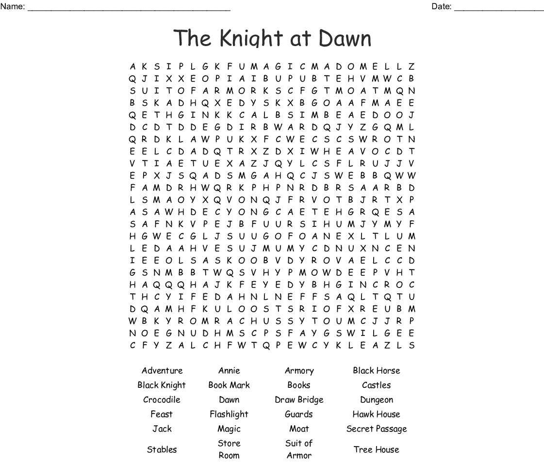 The Knight at Dawn Word Search - WordMint