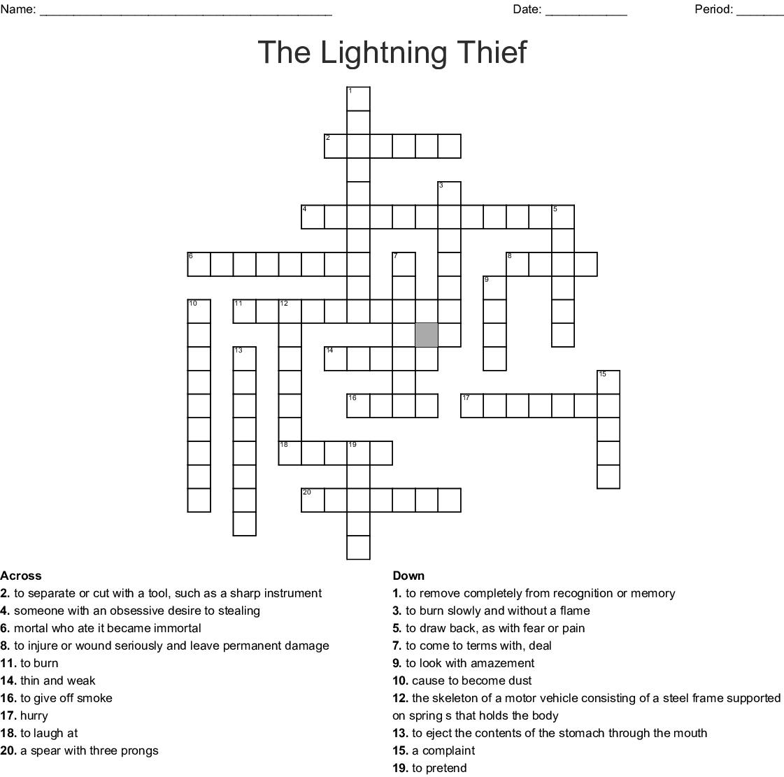 The Lightning Thief Crossword Puzzle - WordMint