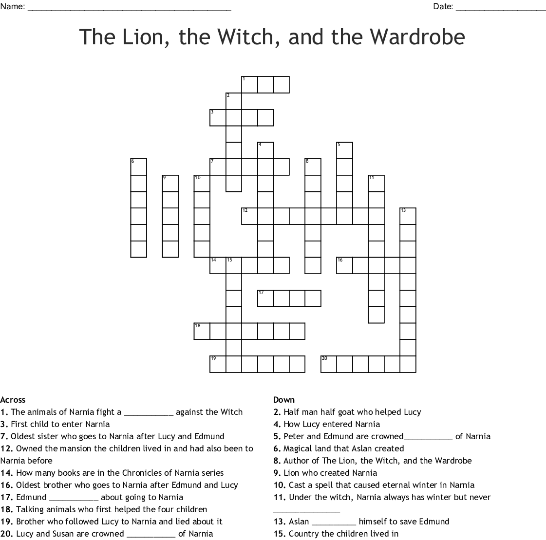 The Lion, The Witch, and The Wardrobe Word Search - WordMint