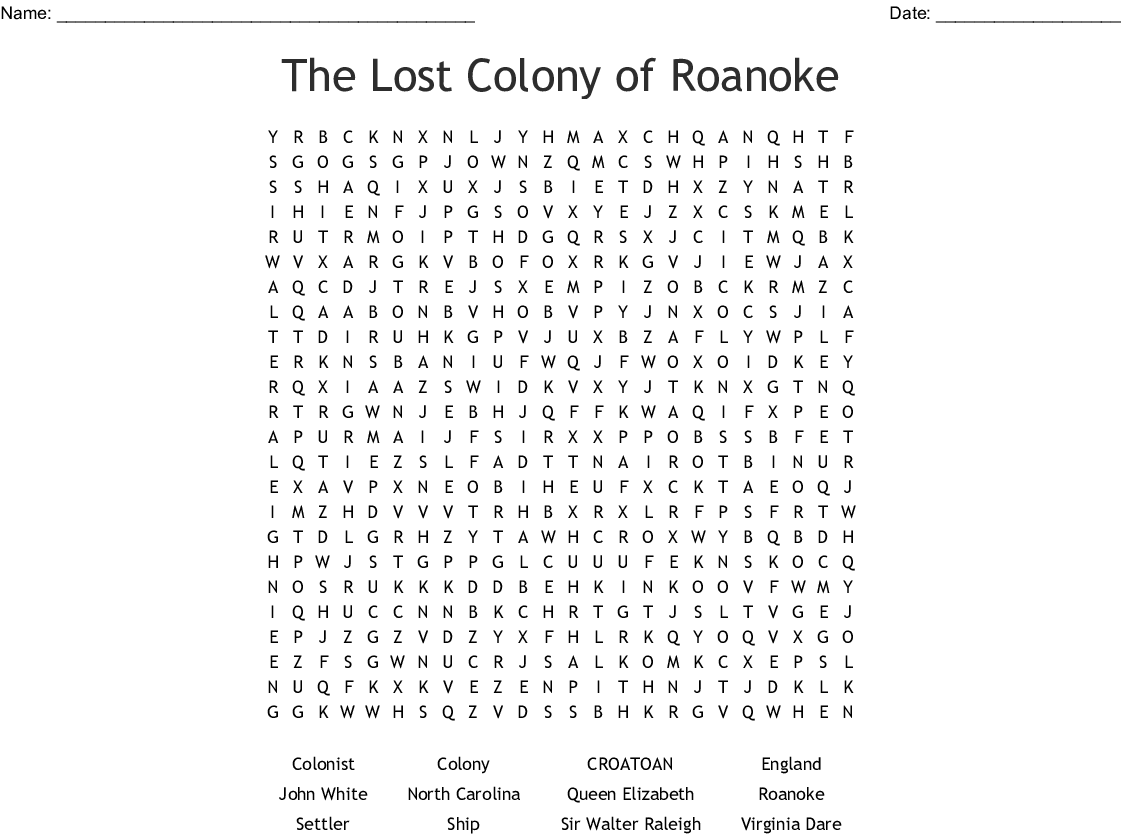 The Lost Colony of Roanoke Crossword - WordMint