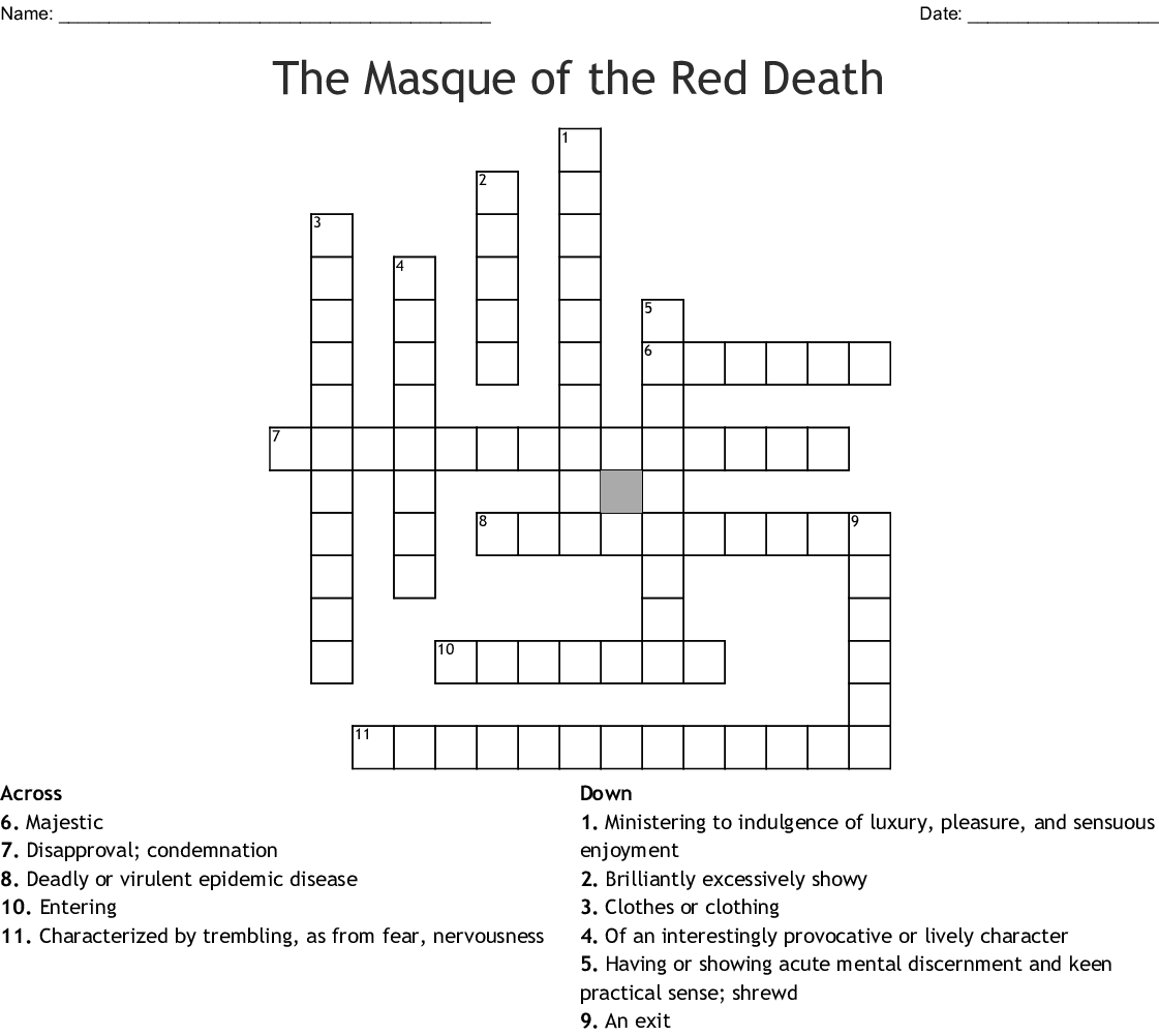 The Masque Of The Red Death Crossword Wordmint