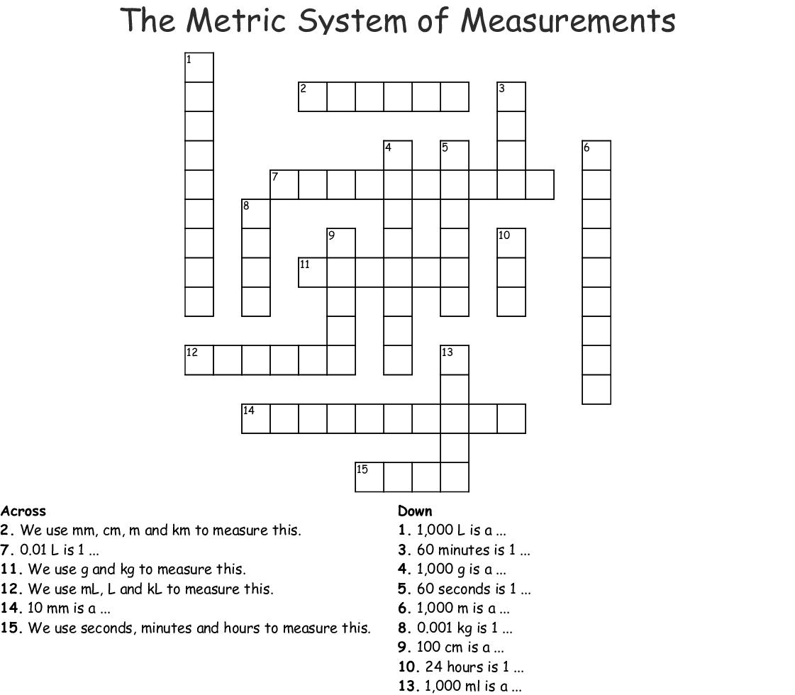 The Metric System Of Measurements Crossword Wordmint
