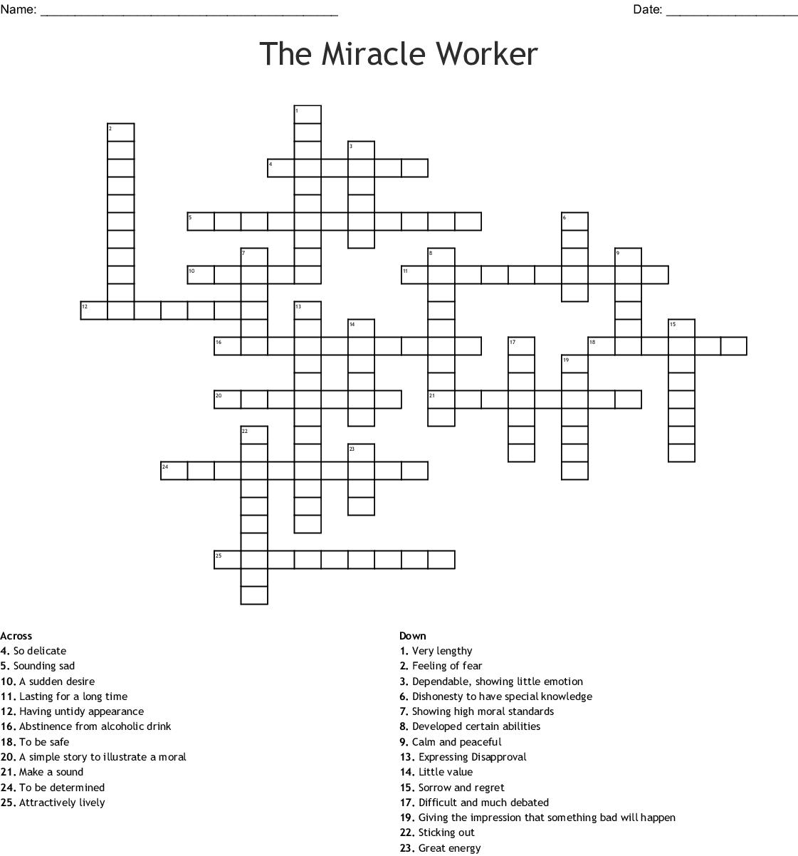 The Miracle Worker Crossword Wordmint