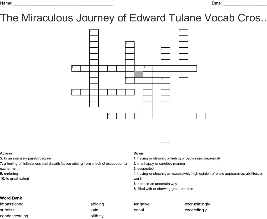 The Miraculous Journey Of Edward Tulane Vocab Crossword Wordmint