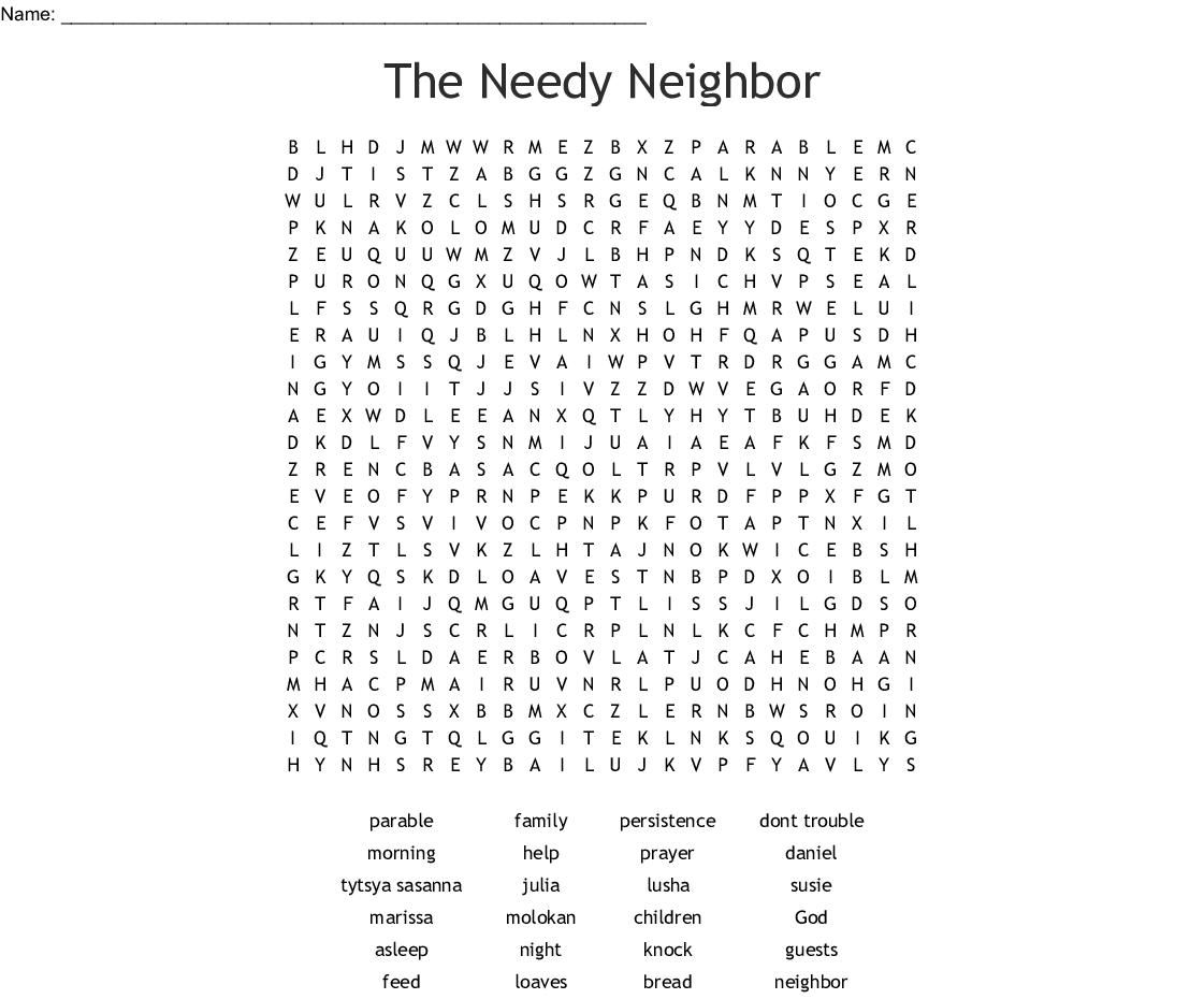 The Needy Neighbor Word Search - WordMint