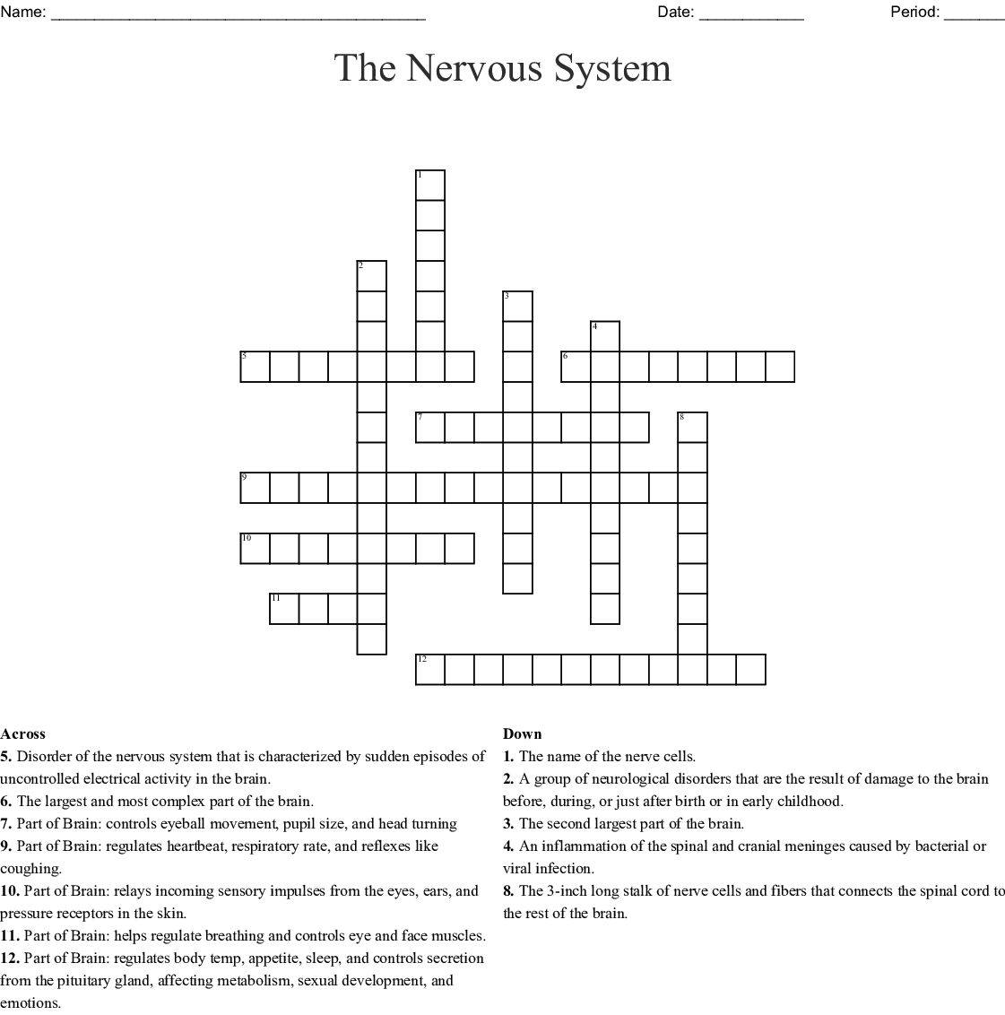 Worksheet on Endocrine and Nervous System Crossword - WordMint