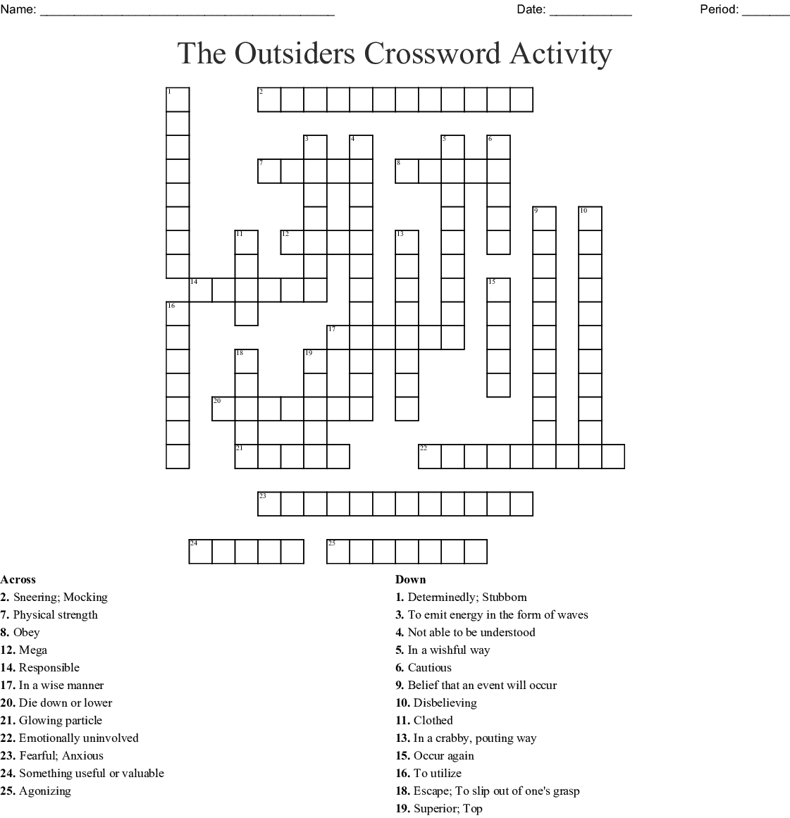 The Outsiders Crossword Activity Wordmint