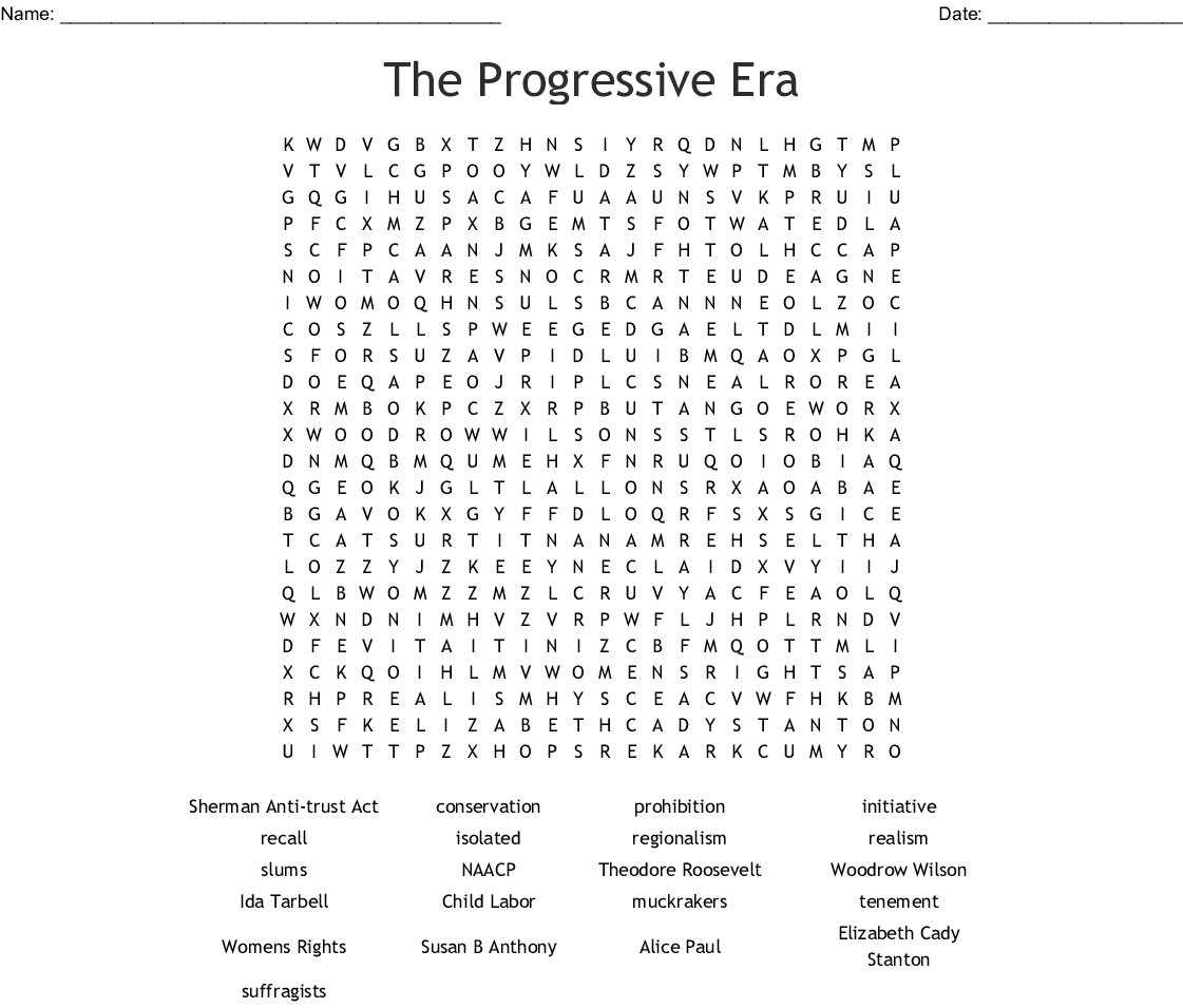 The Progressive Era Word Search Print Answer Key