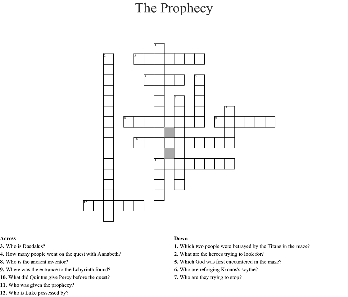 The Prophecy Crossword Wordmint
