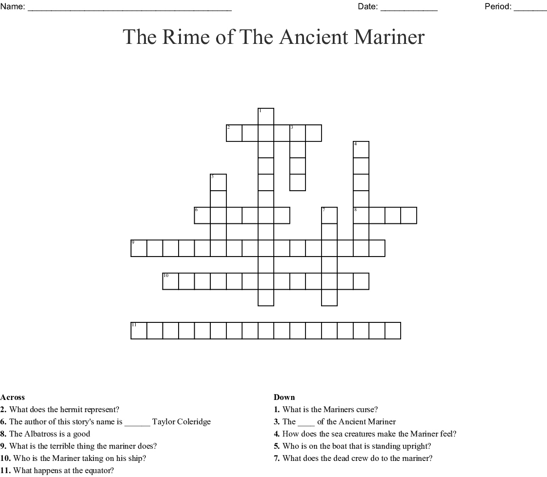 The Rime Of The Ancient Mariner Crossword Wordmint