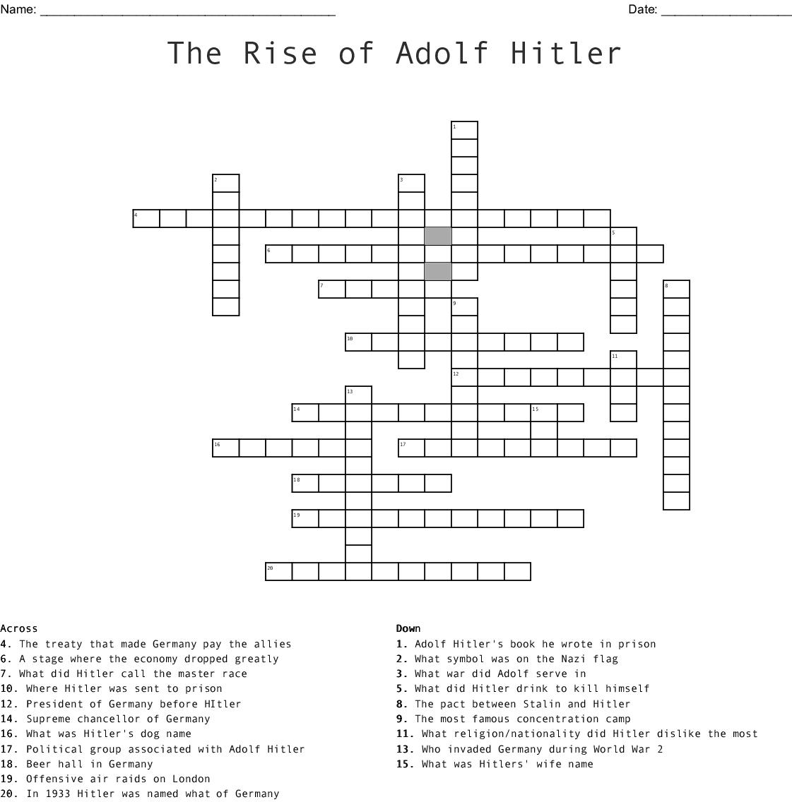 Nazi Germany Crossword - WordMint