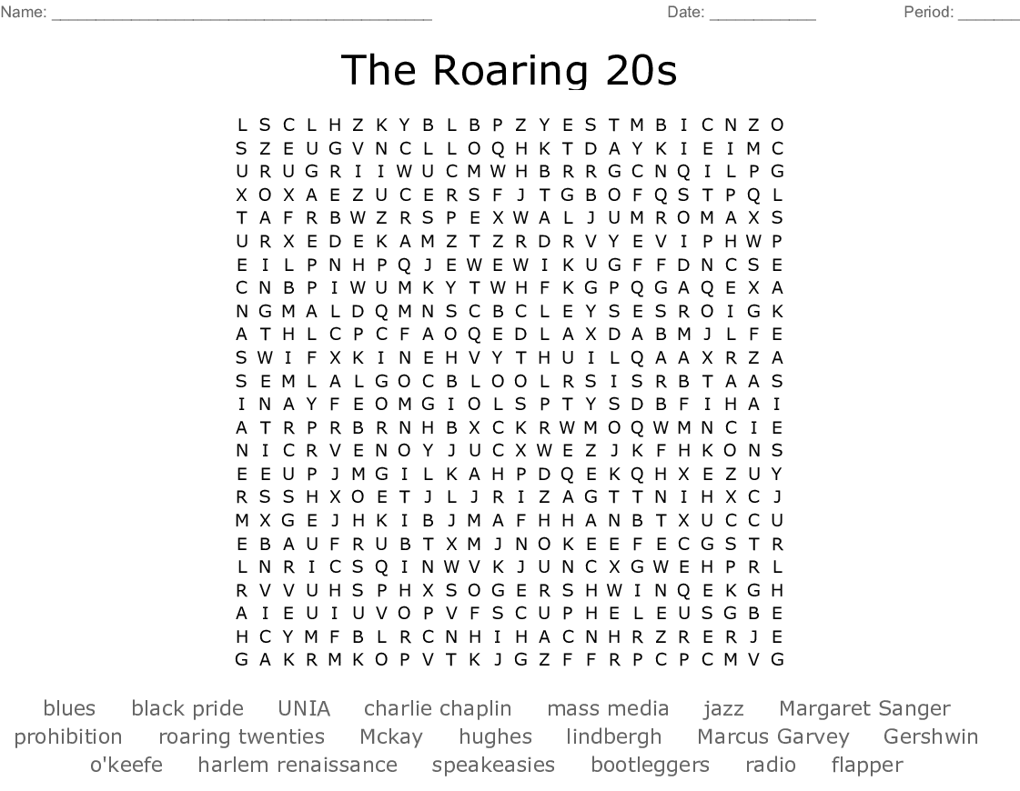 The Roaring 20s Word Search - WordMint