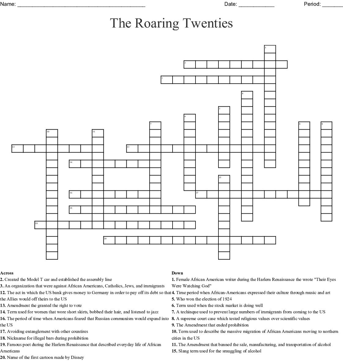 1920s -1930s Crossword - WordMint