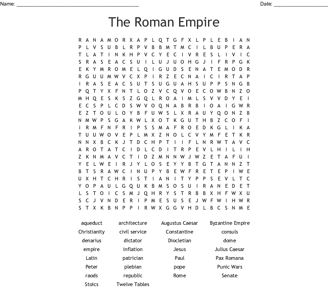 The Roman Empire Word Search - WordMint