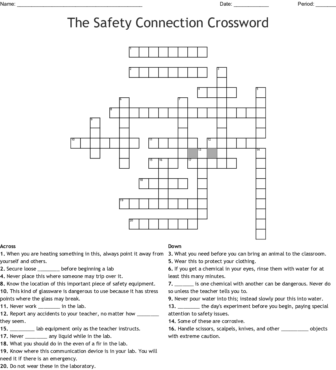 Science Lab Safety Rules Crossword - WordMint