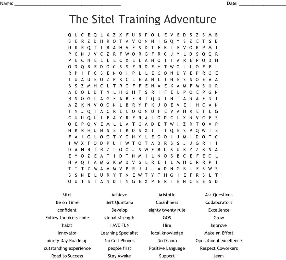 The Sitel Training Adventure Word Search - WordMint