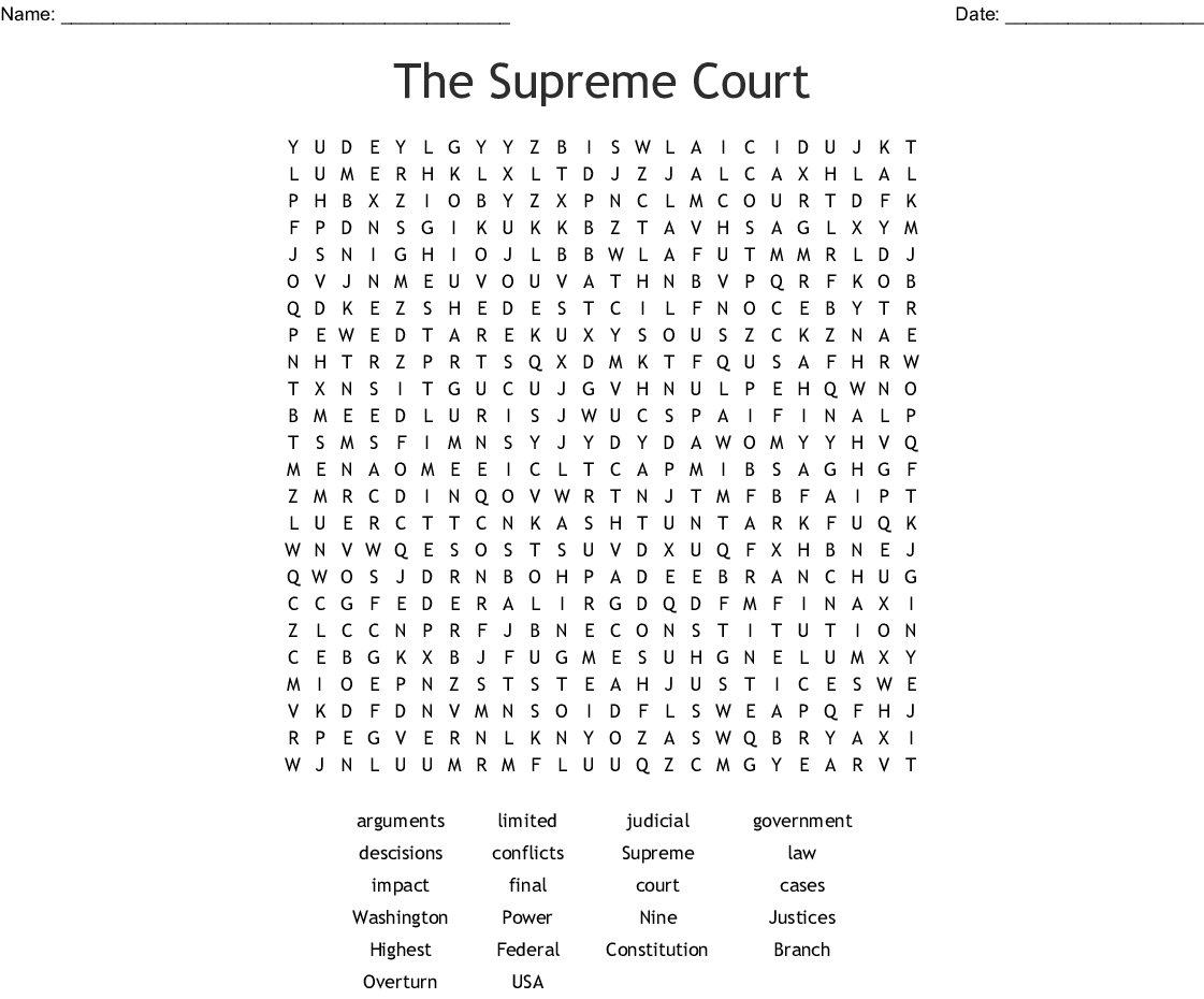 The Supreme Court Word Search - WordMint