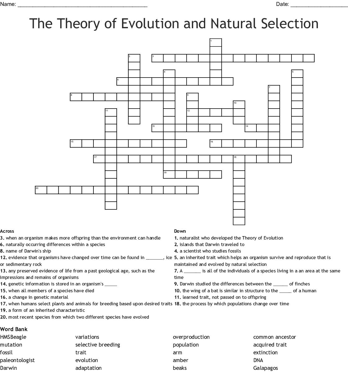 Charles Darwin Word Search - WordMint
