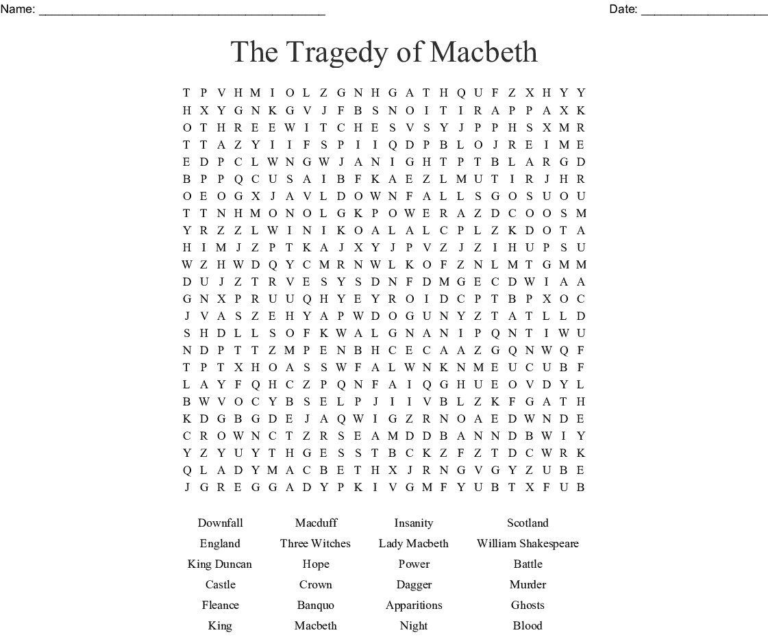 The Tragedy Of Macbeth Word Search Wordmint