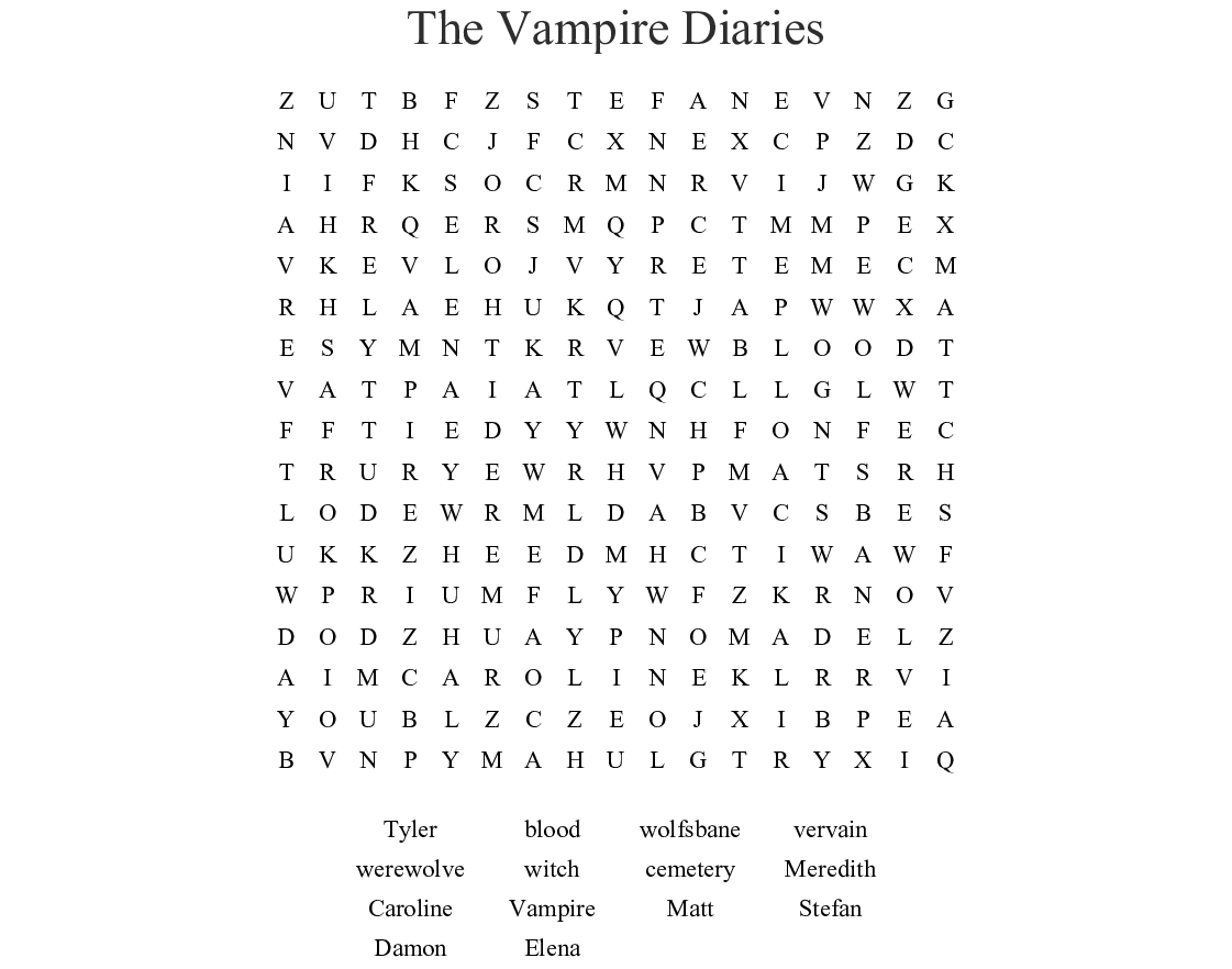 The Vampire Diaries Crossword - WordMint