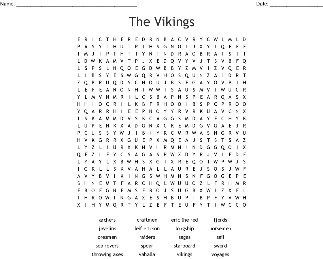 graphic about Printable Vikings Schedule titled The Vikings Phrase Look - WordMint