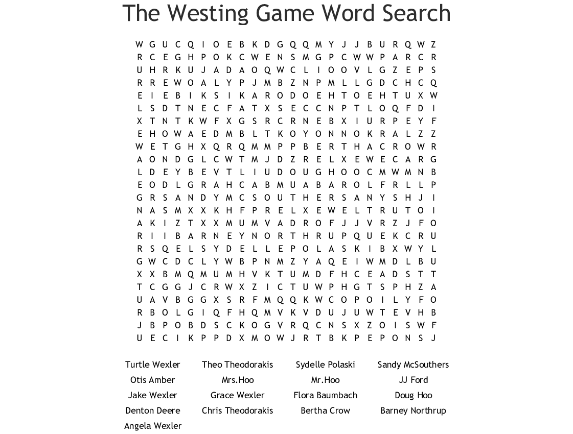 The Westing Game Word Search - WordMint