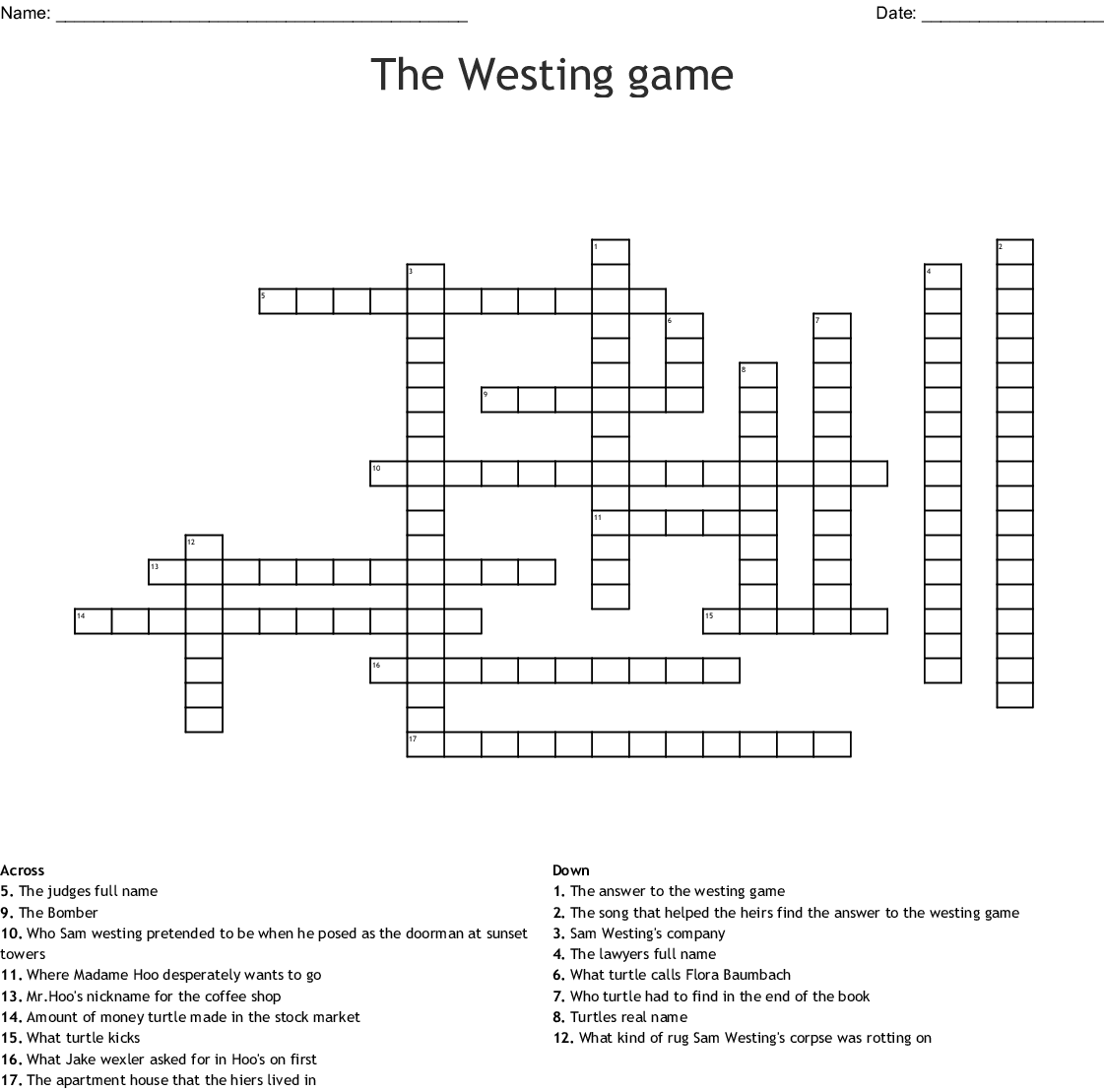 The Westing game Crossword - WordMint