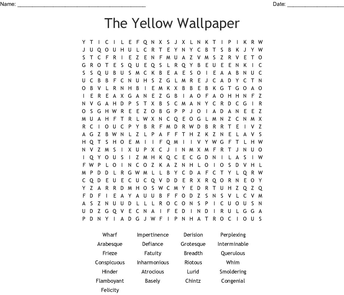 The Yellow Wallpaper Word Search - WordMint