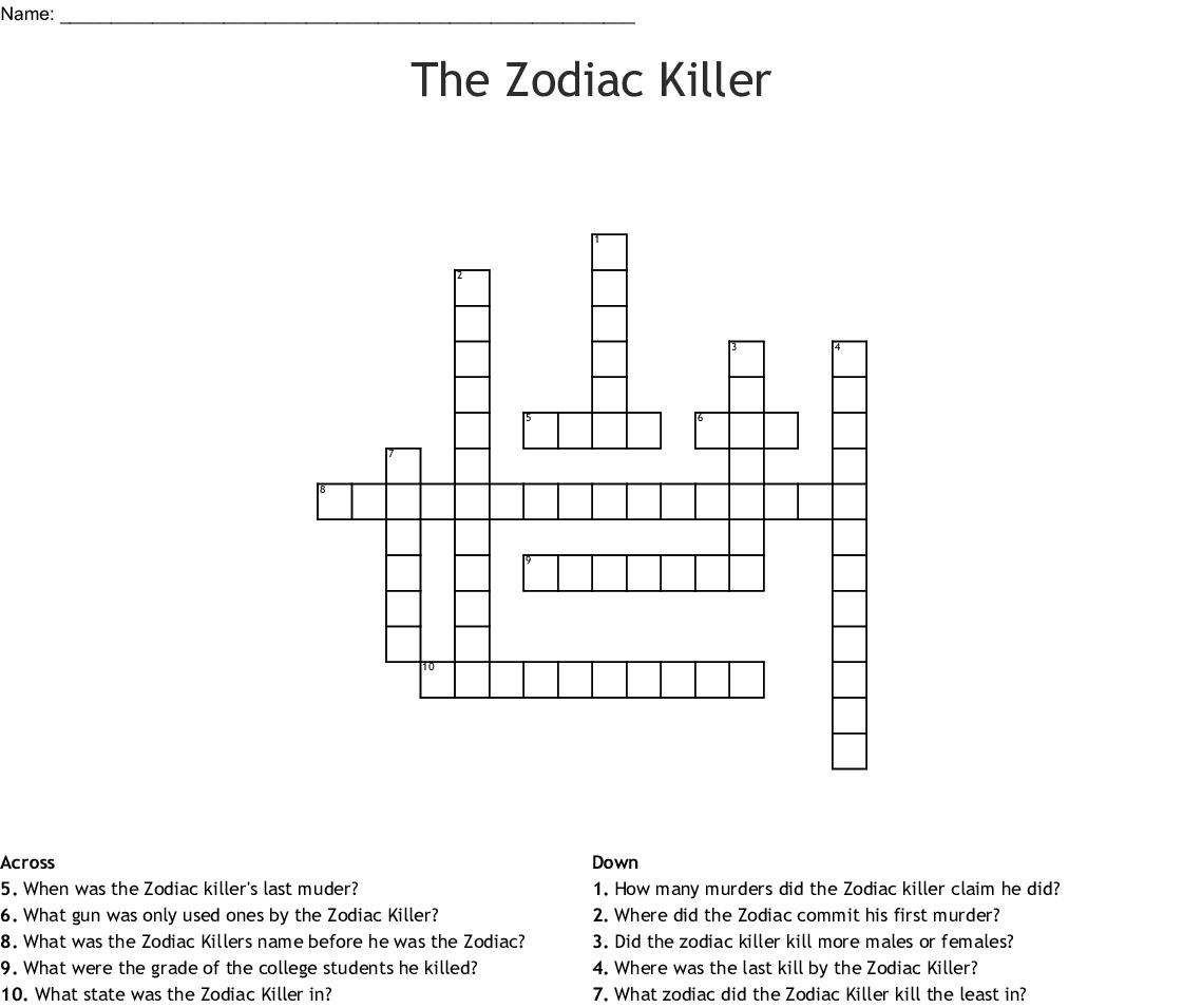 The Zodiac Killer Crossword Wordmint