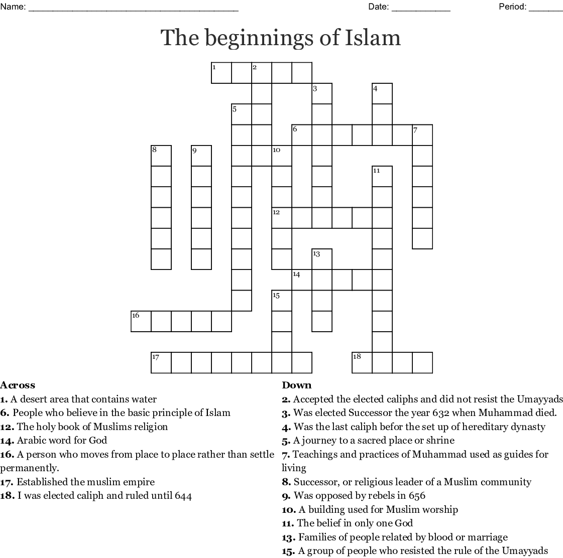 The beginnings of Islam Crossword - WordMint