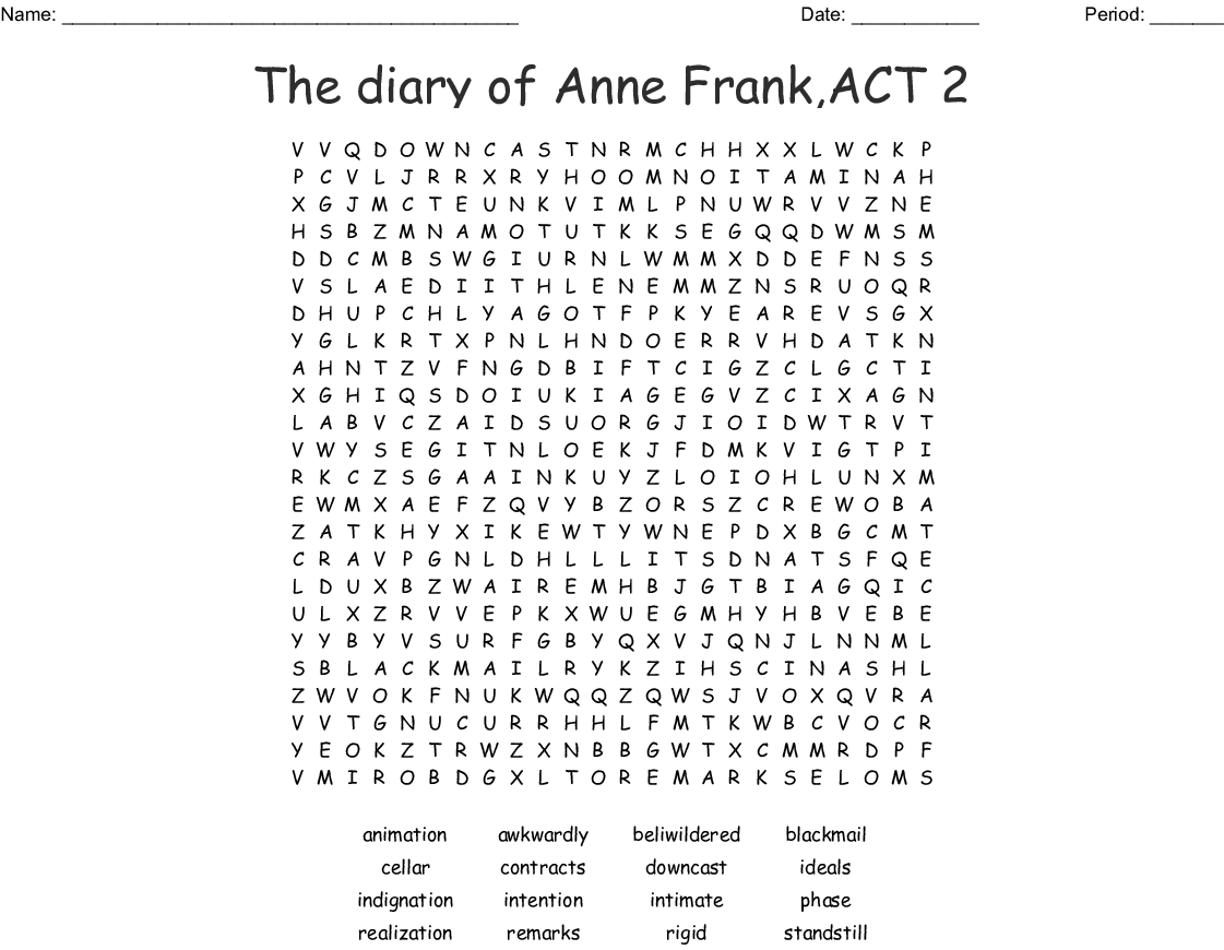 The Diary of Anne Frank Act 1 Spelling/Vocabulary Word ...