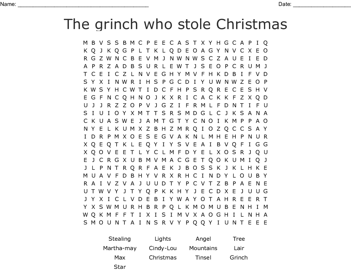 The grinch who stole Christmas Word Search