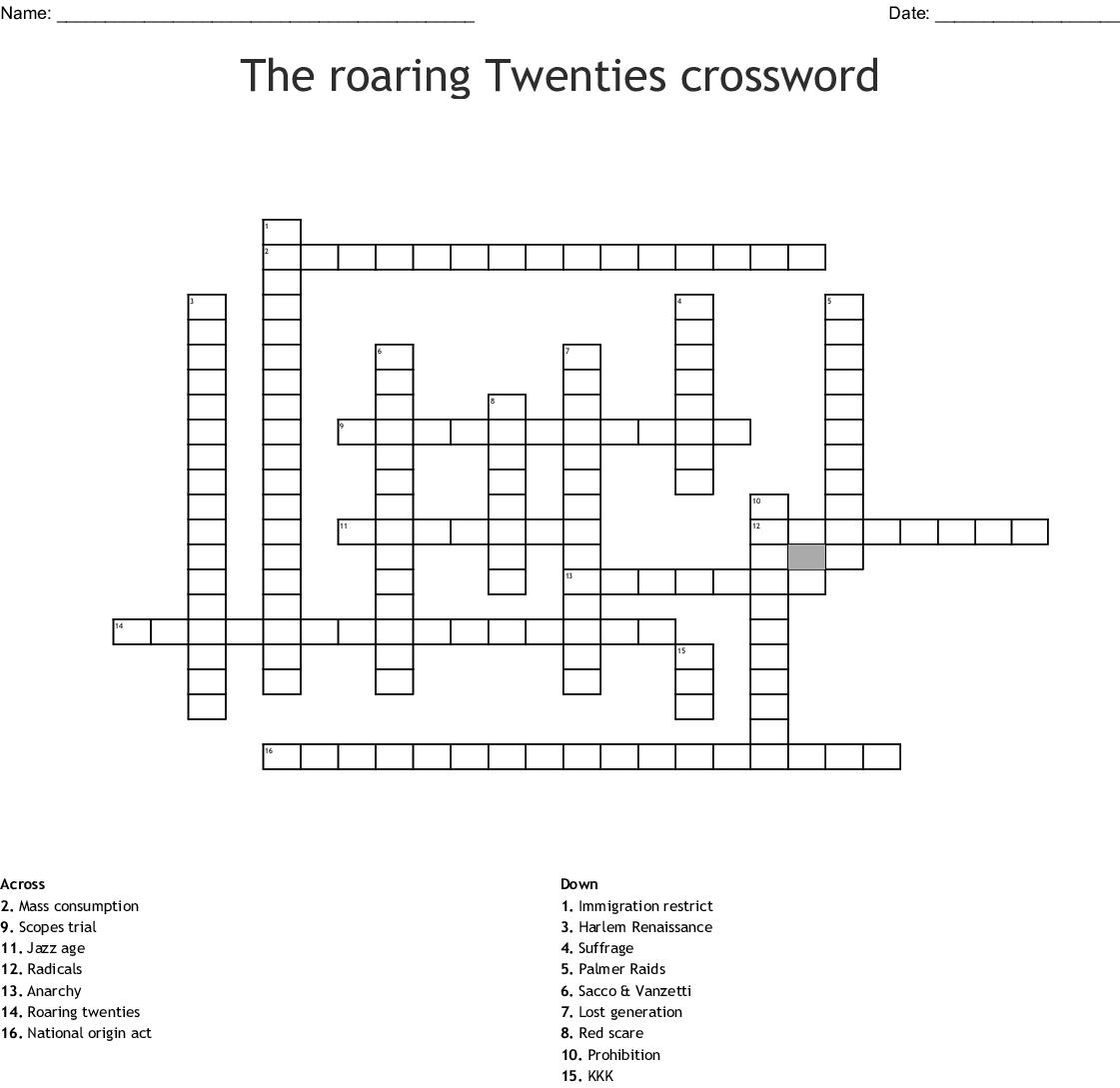 The roaring twenties Word Search - WordMint