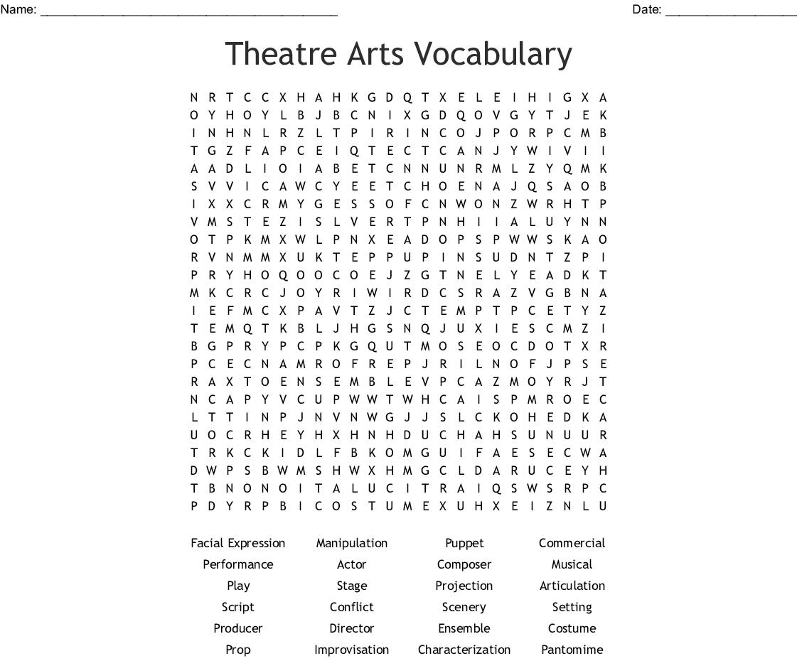 Drama Vocabulary Crossword - WordMint