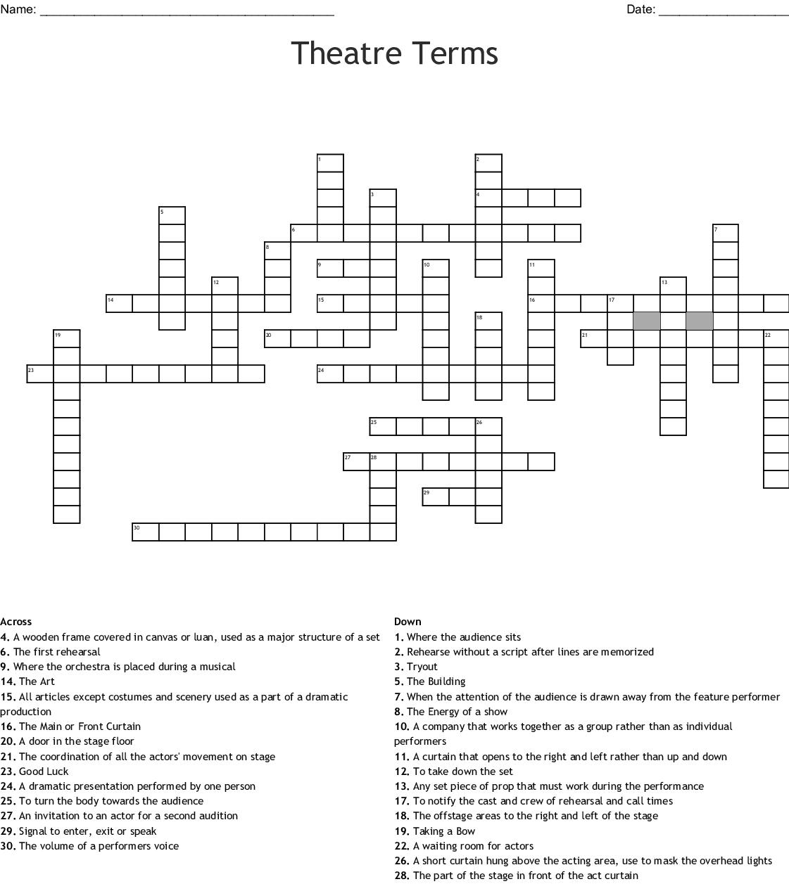 Theatre Terms Crossword - WordMint