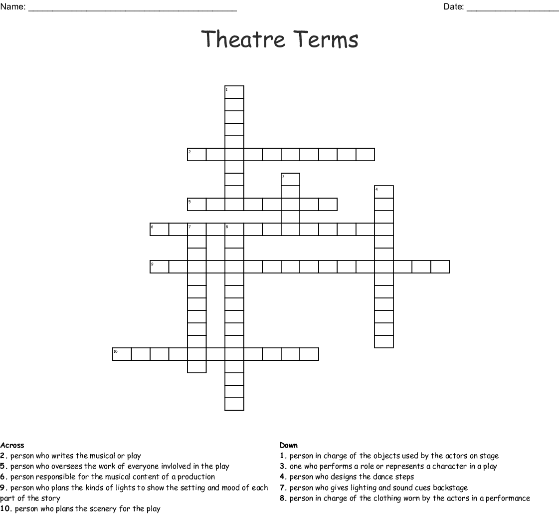 Theatre Terms Crossword Wordmint