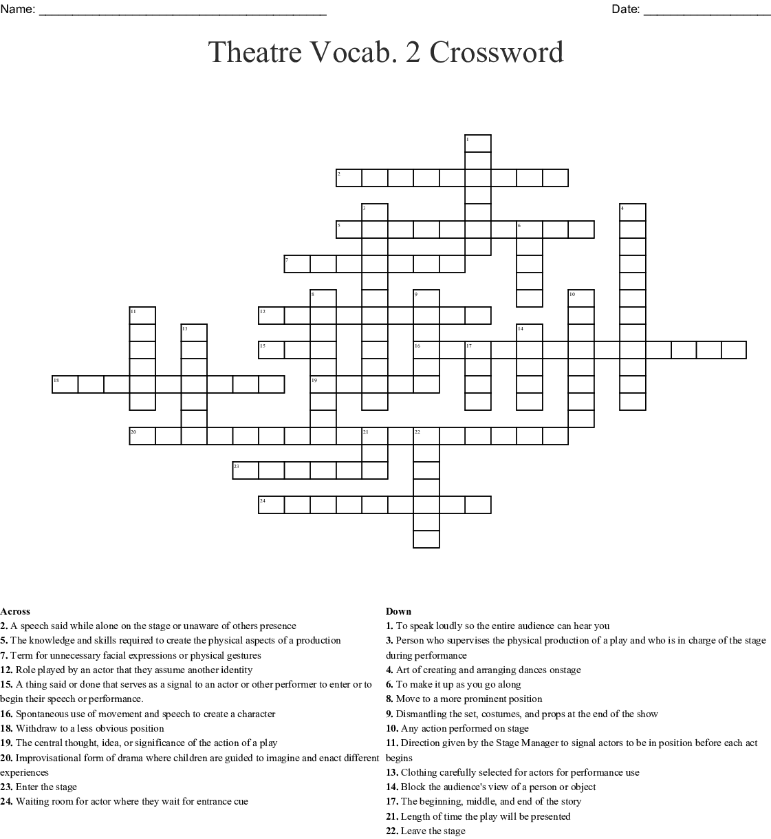 Theatre Vocabulary Crossword Wordmint