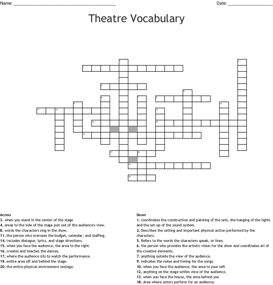 Theatre Vocabulary Crossword - WordMint