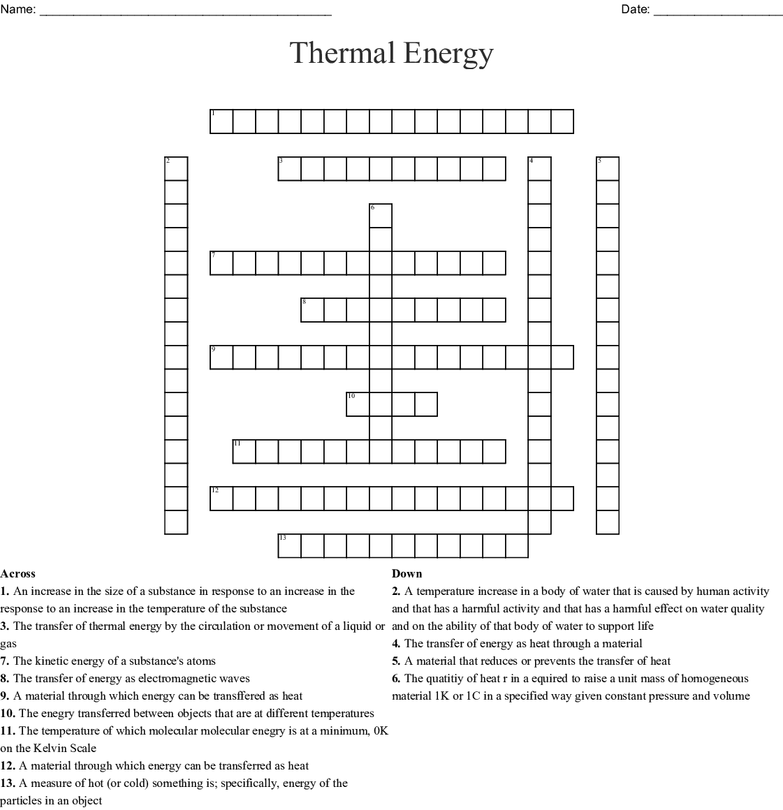Chapter 9 energy vocabulary crossword - WordMint