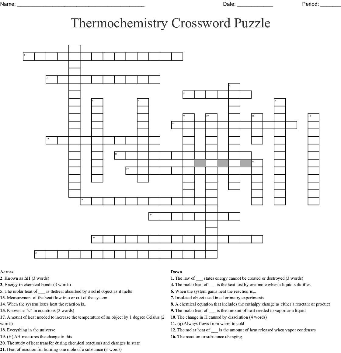 Thermochemistry Crossword Puzzle - WordMint